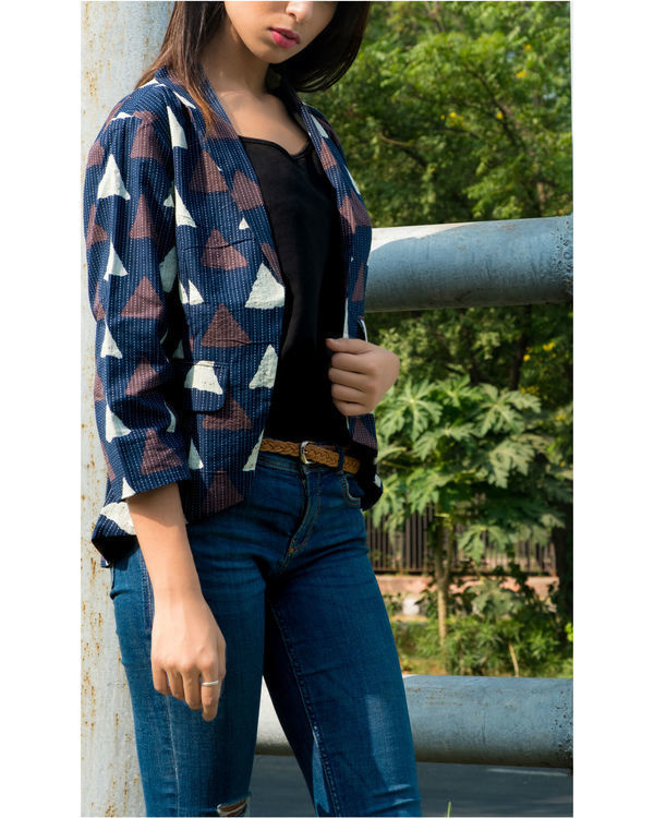 Navy katha block print jacket 2