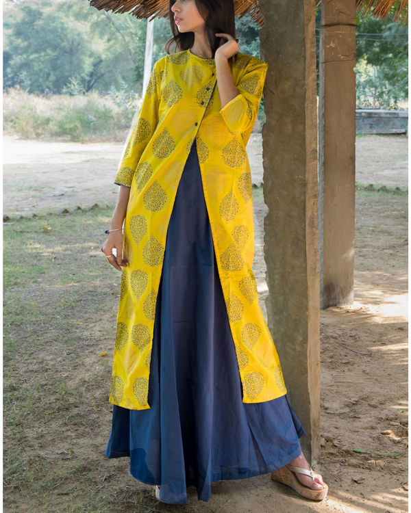 Blue and Yellow double layered dress 3