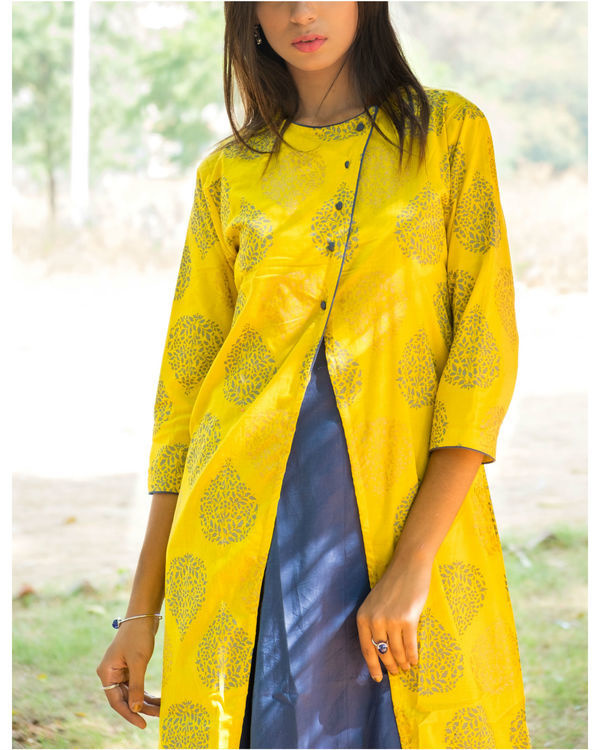Blue and Yellow double layered dress 1