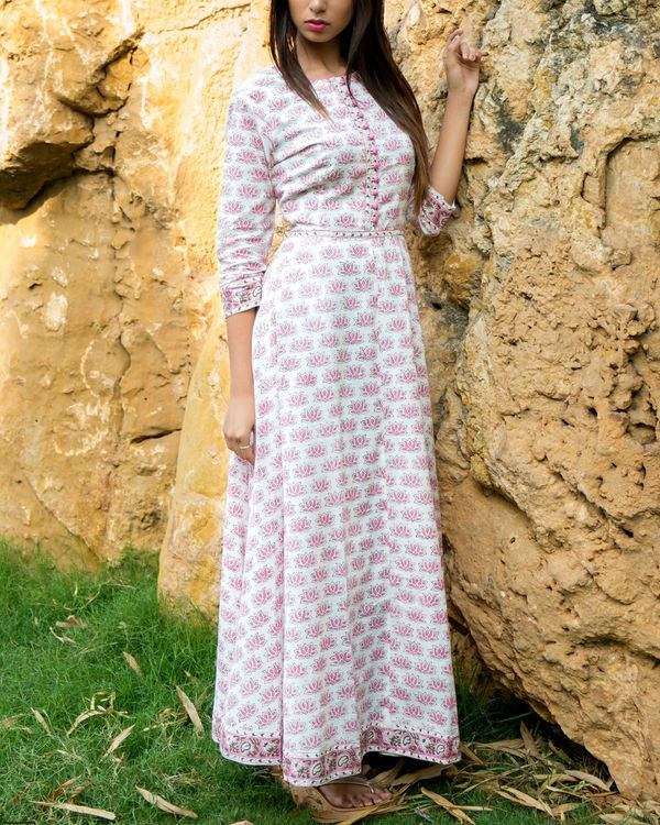 Lotus block printed long dress 3