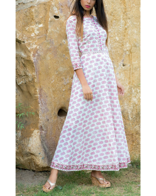 Lotus block printed long dress 2