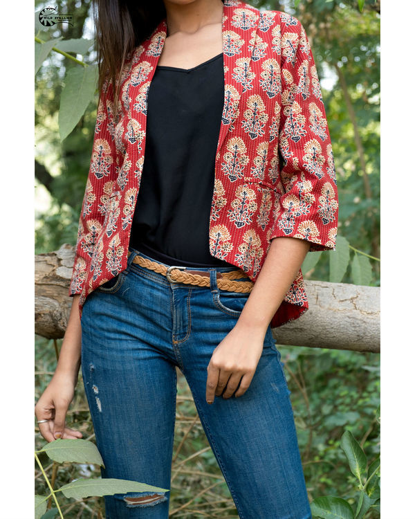 Maroon katha block print jacket 2