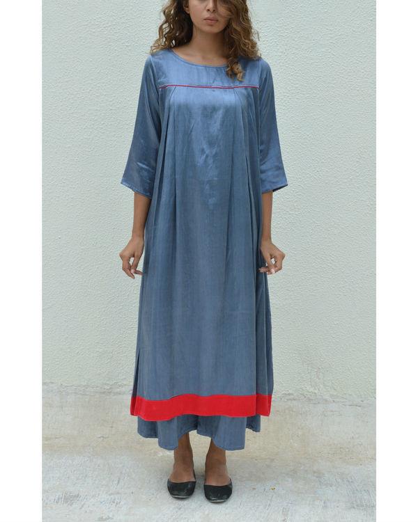 Silver grey yoke pleated dress 1