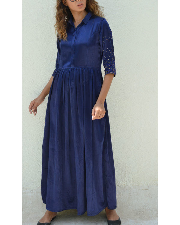 Indigo button down gathered dress 2