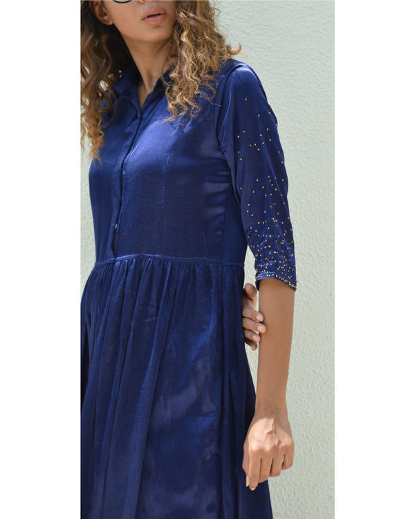 Indigo button down gathered dress 1