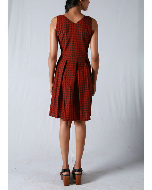 Maroon check angrakha dress 1