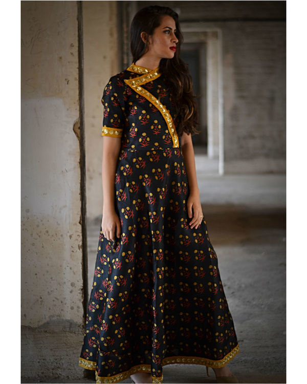 Black floral dress with yellow dupatta 3
