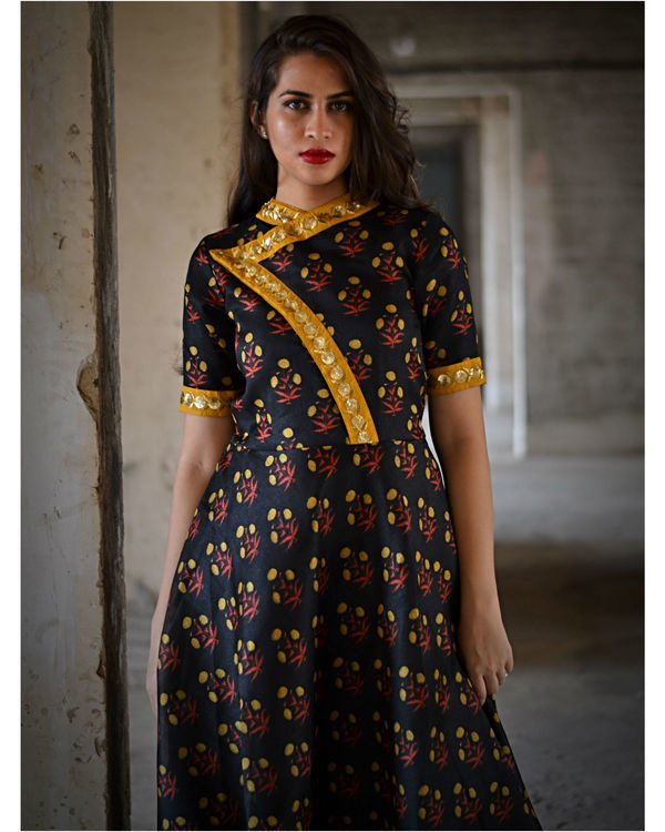 Black floral dress with yellow dupatta 2