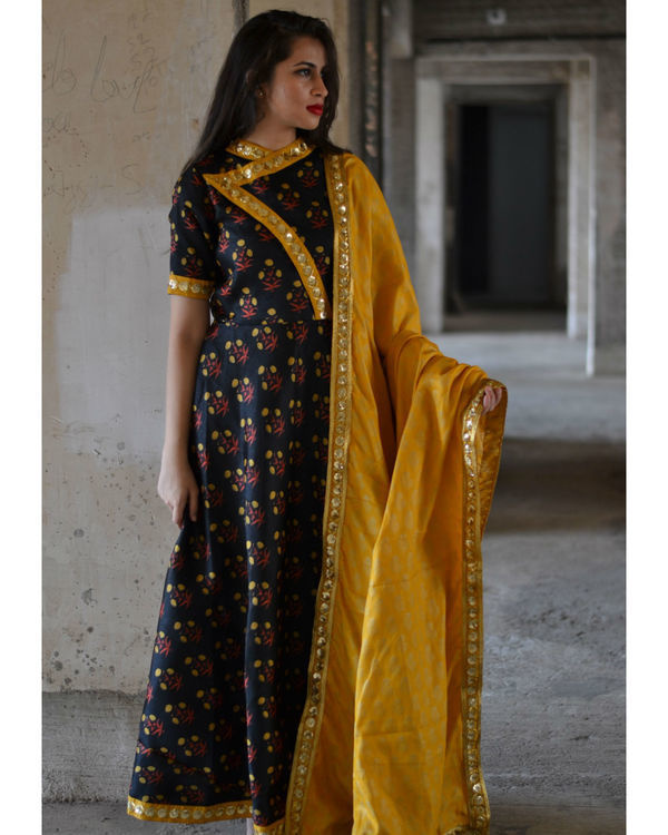 Black floral dress with yellow dupatta 1