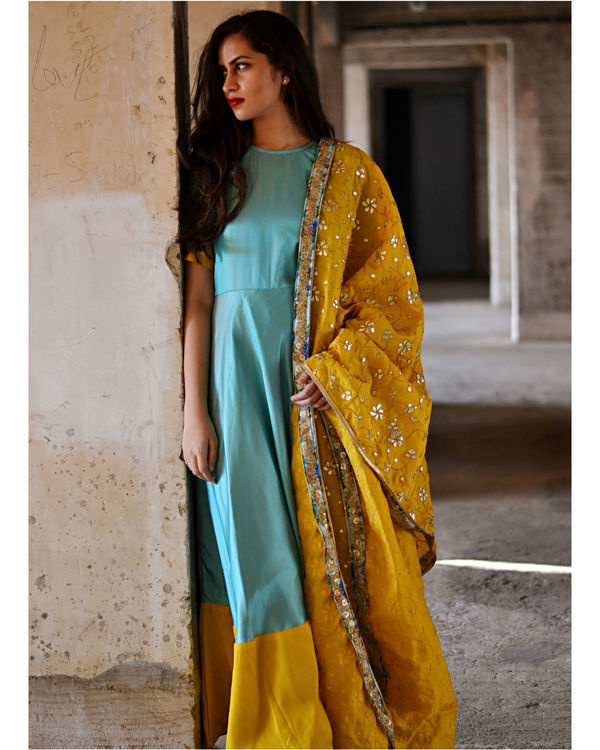 Blue and yellow dress with dupatta 2