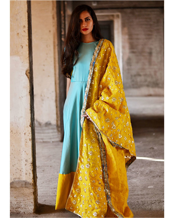 Blue and yellow dress with dupatta 1