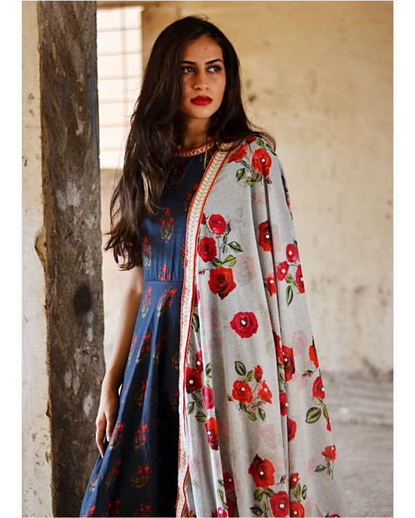Navy blue rose garden dress and dupatta set 1