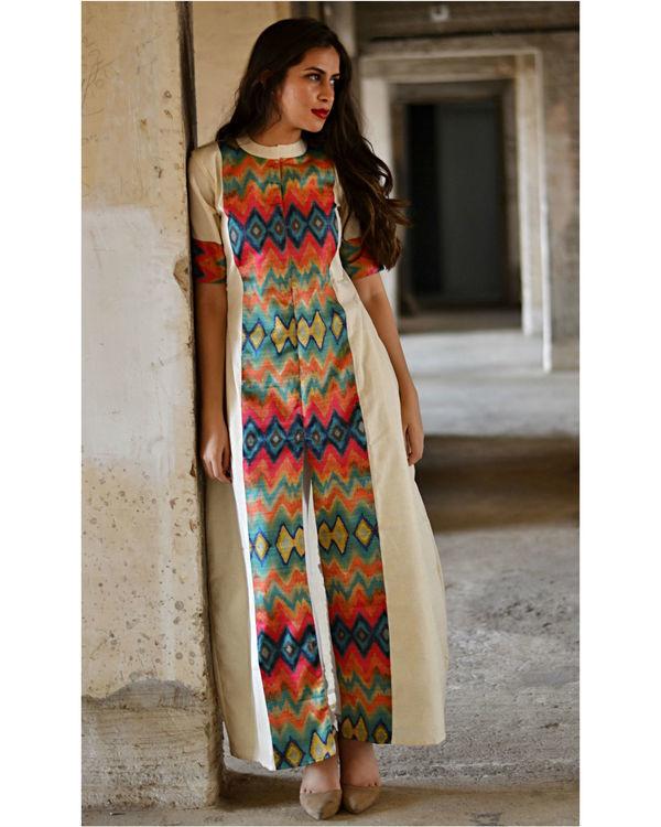 Multi color zig zag slit maxi dress 2