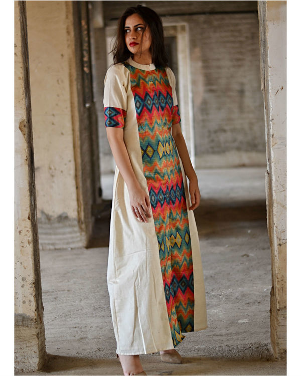 Multi color zig zag slit maxi dress 1