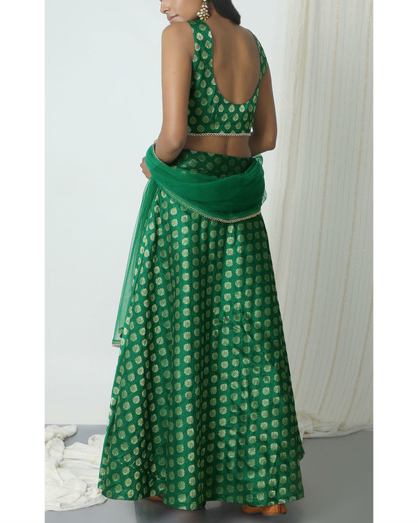 Green brocade booti lehenga set 2