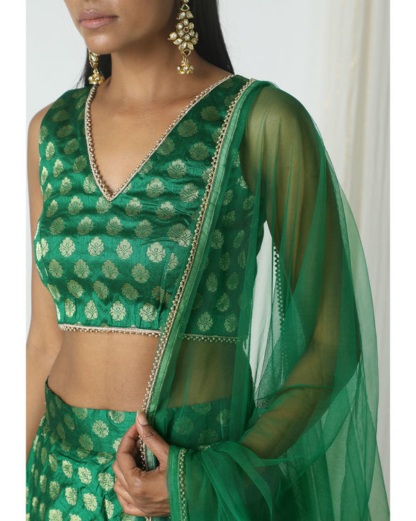 Green brocade booti lehenga set 1