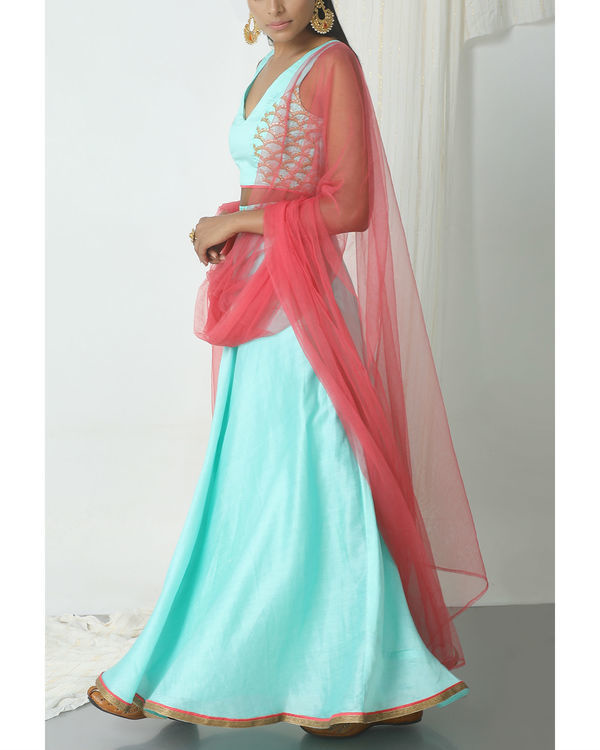 Powder blue gold zari lehenga set 3