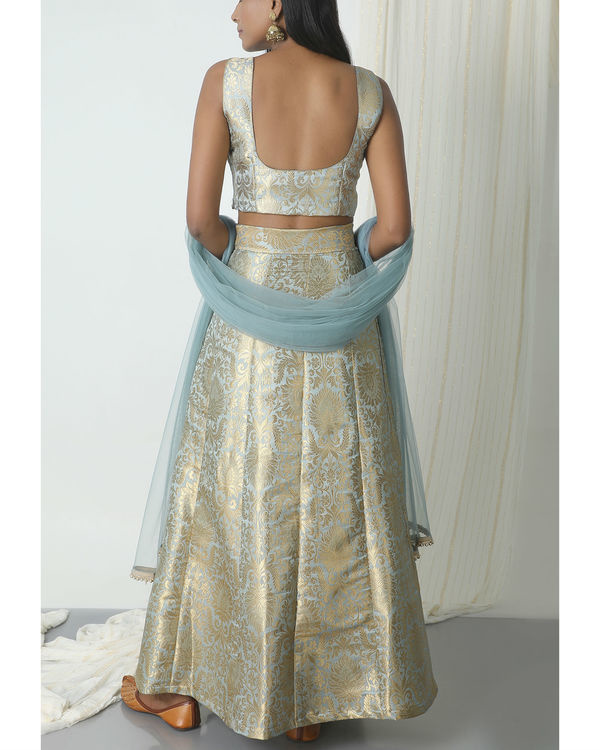 Grey brocade lehenga set 2