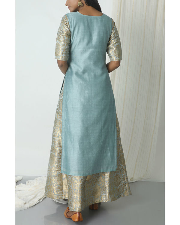Grey brocade chanderi skirt-kurta set 2