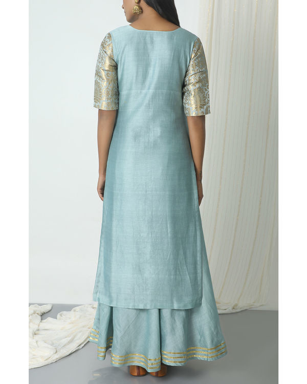 Grey chanderi gota skirt-kurta set 2