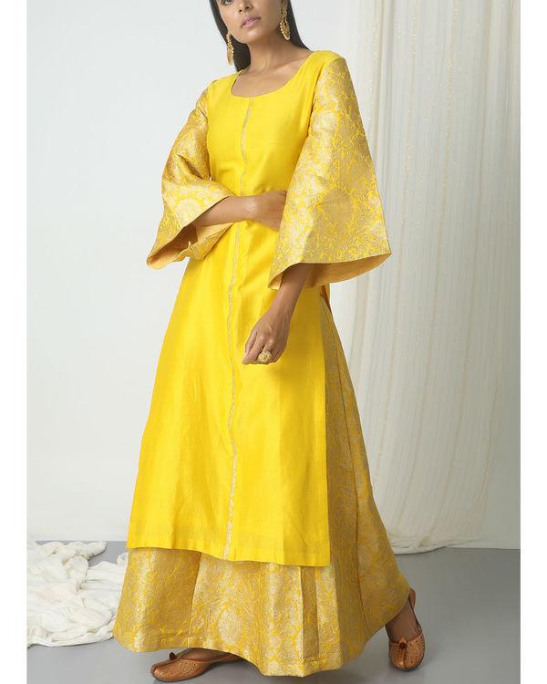 Yellow brocade chanderi skirt-kurta set 3