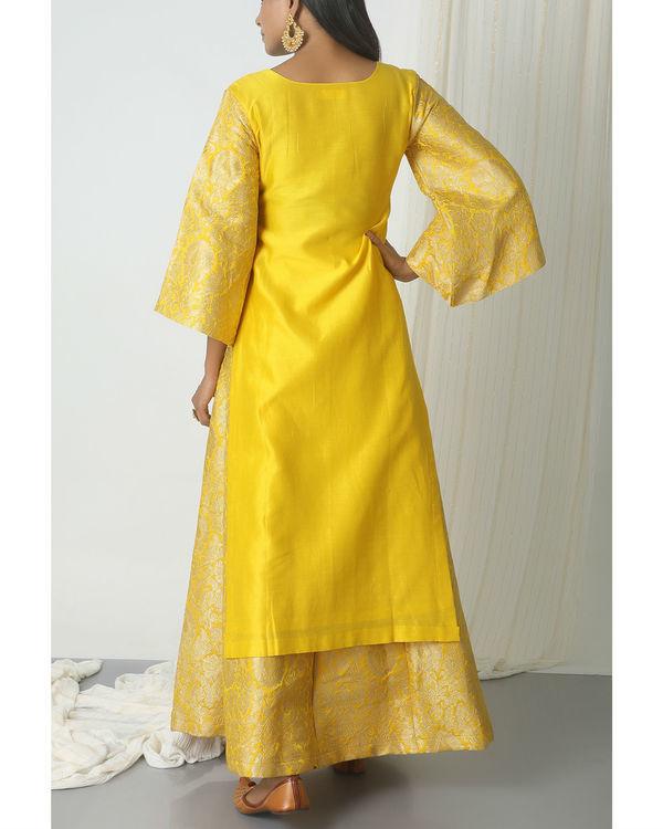 Yellow brocade chanderi skirt-kurta set 2