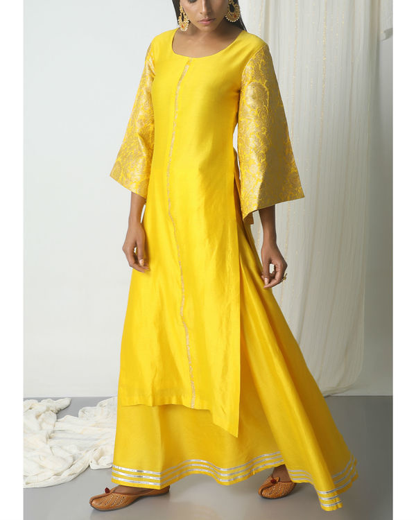 Yellow chanderi gota skirt-kurta set 3