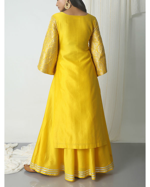Yellow chanderi gota skirt-kurta set 2