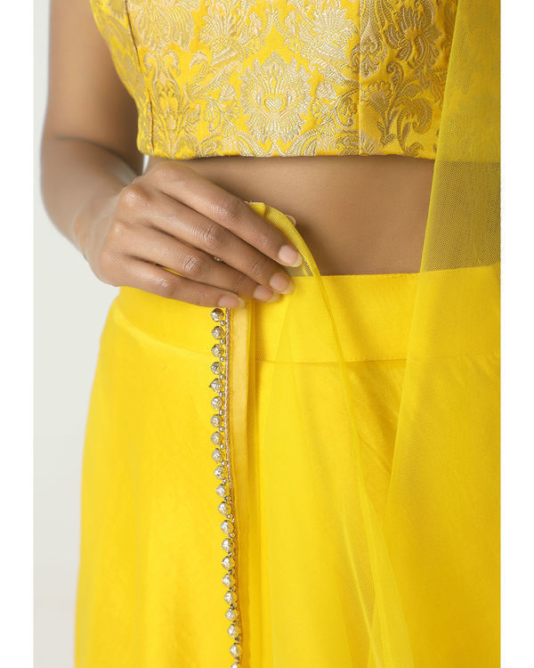Yellow gota chanderi brocade lehenga set 1