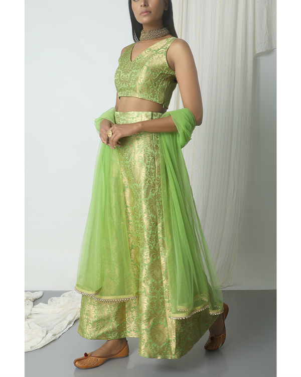 Chartreuse green brocade lehenga set 3