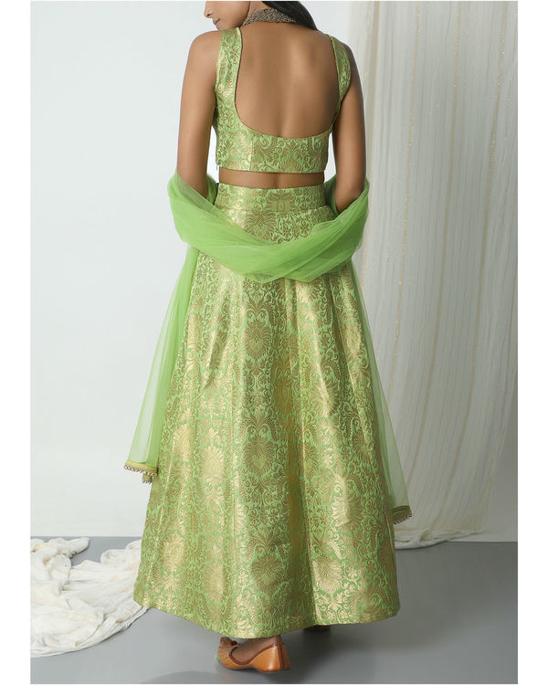 Chartreuse green brocade lehenga set 2