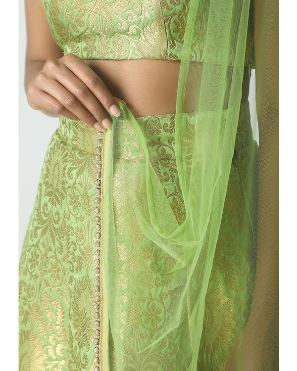 Chartreuse green brocade lehenga set 1