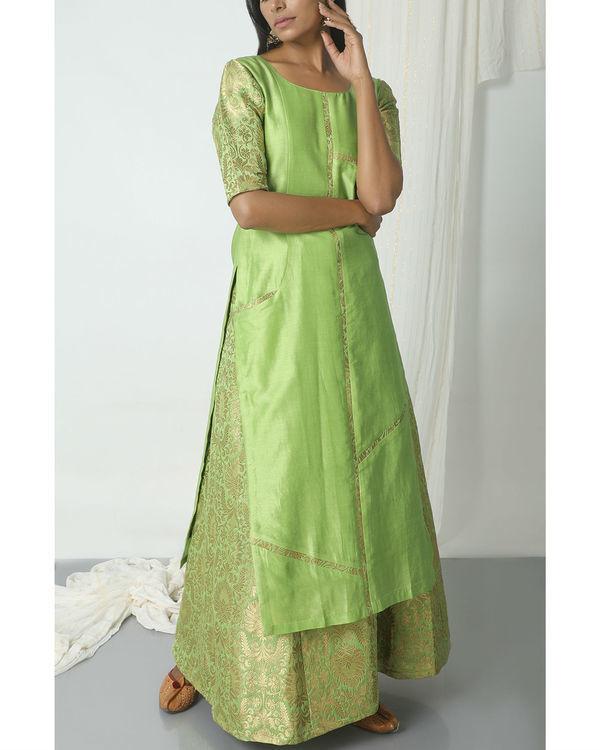 Chartreuse green brocade chanderi skirt-kurta set 3