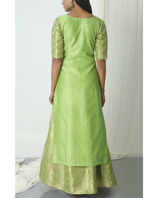 Chartreuse green brocade chanderi skirt-kurta set 1