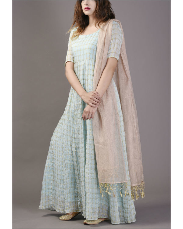 Powder blue anarkali with churidar and dupatta set 1