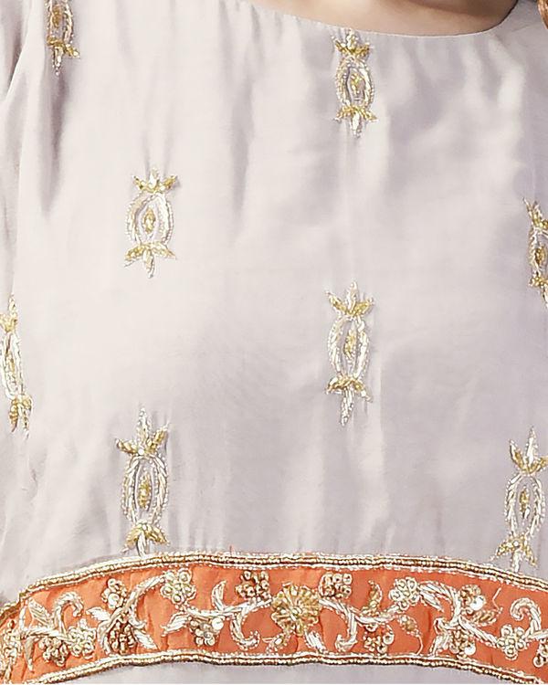 Grey embroidered cold shoulder dress 3