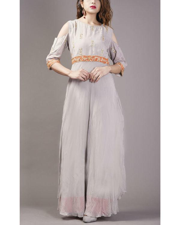 Grey embroidered cold shoulder dress 2