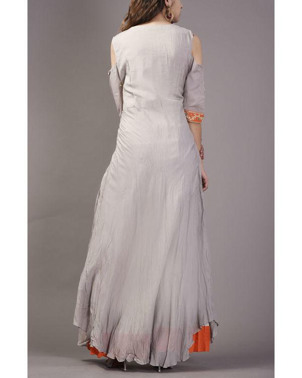 Grey embroidered cold shoulder dress 1