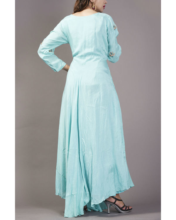 Aqua asymmetrical  long flare dress 1