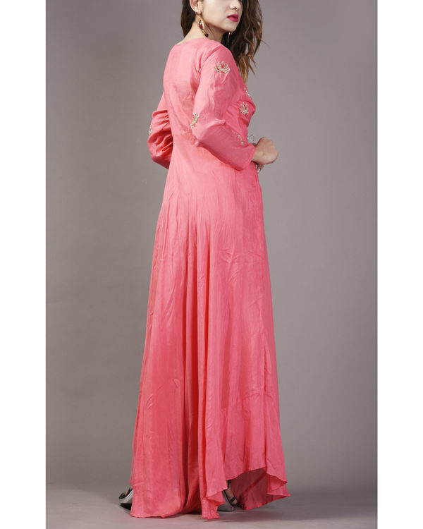 Coral pink asymmetrical flare dress 1