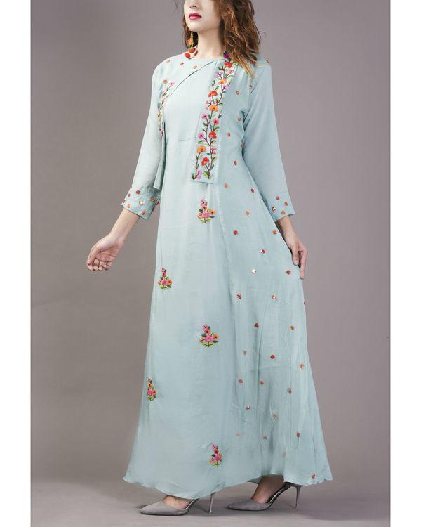 Sky blue floral cape gown 3