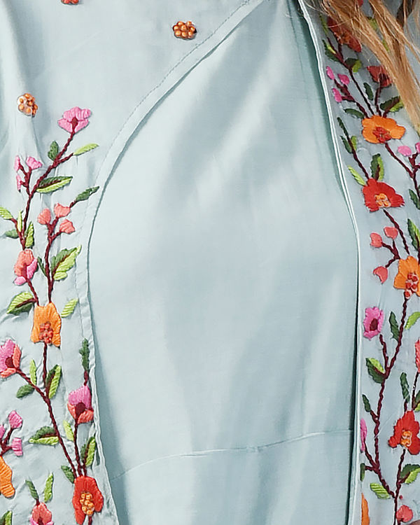 Sky blue floral cape gown 2