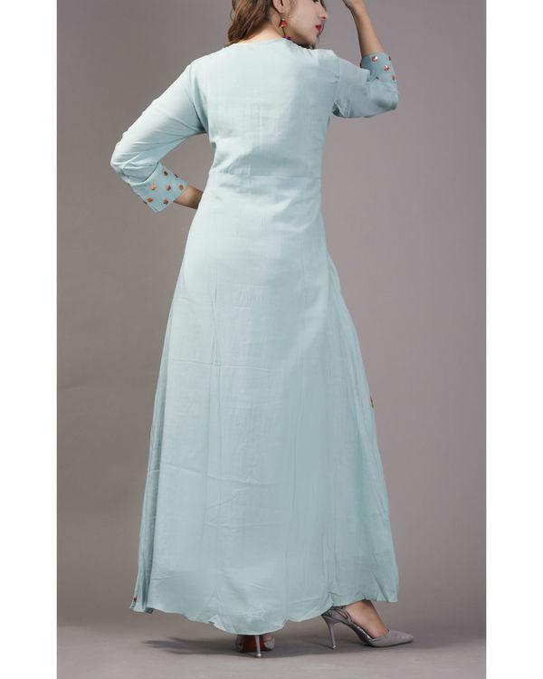 Sky blue floral cape gown 1