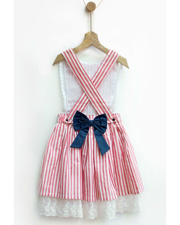 Red gingham stripes pinafore 2