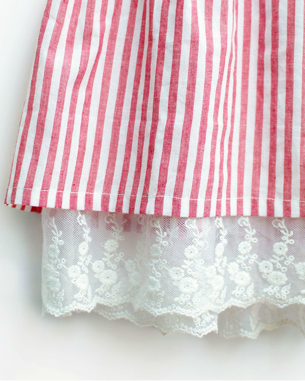 Red gingham stripes pinafore 1