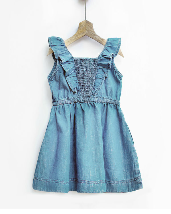 Ice wash ruffled denim pinafore 1
