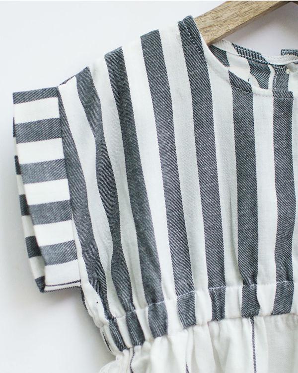 Grey & white checks smock dress with pockets 2