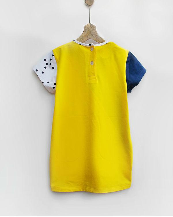 Triangle knit dress with seam pockets 1