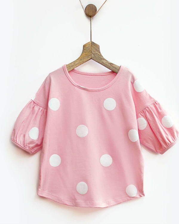 Pink & white polka tee with bubble sleeves 3