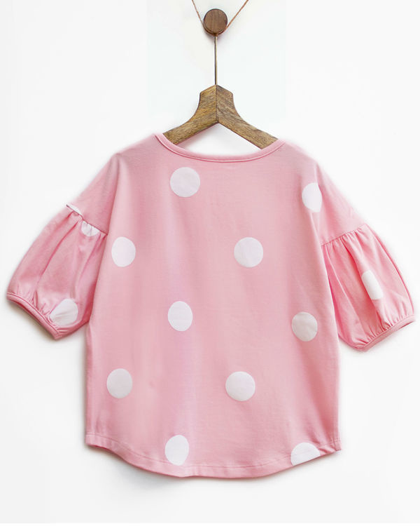 Pink & white polka tee with bubble sleeves 2